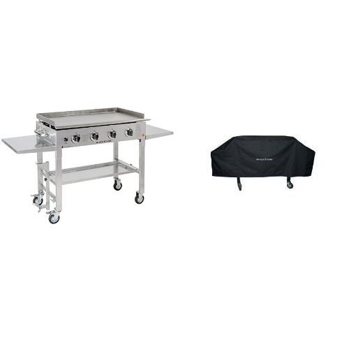 Blackstone 36 inch Stainless Steel Outdoor Flat Top Gas Grill Griddle Station – 4-burner – Propane Fueled – Restaurant Grade – Professional Quality with Cover