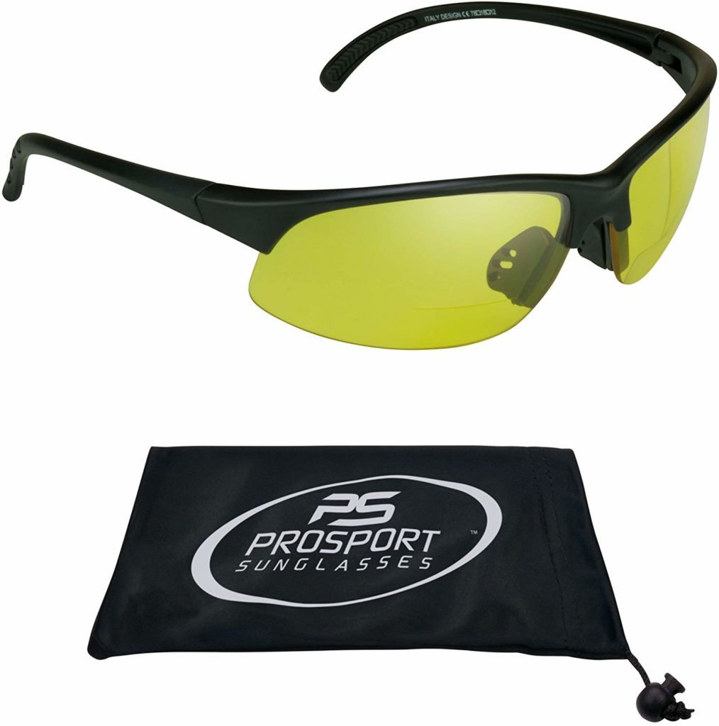 proSPORT Bifocal Reader Sunglasses Half Rim Sport Style Yellow Night Driving Riding, HD Vision or Smoke lenses
