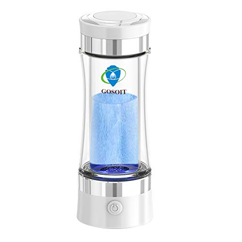GOSOIT Hydrogen Alkaline Water Bottle Maker Machine Hydrogen Water Generator Ionizer with SPE and PEM Technology,US Membrane Make Hydrogen Content up to 800-1200 PPM and PH of 7.5-9.0 (White)