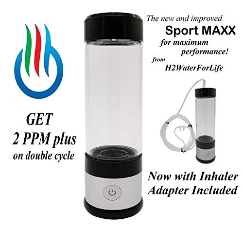 H2 USB Sport MAXX Hydrogen Water Generator with Glass Bottle and Inhaler Adapter (Silver)