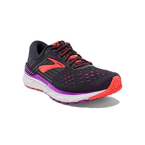 Brooks Womens Transcend 6 Running Shoe - Black/Purple/Coral - B - 9.0