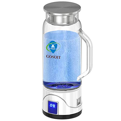 GOSOIT Hydrogen Alkaline Water Maker Machine Generator Hydrogen Water Bottle Pitcher Ionize System with SPE & PEM Tech,US Proton Membrane, Make Hydrogen Content to 800-1200 PPB, PH 7.5-9.5